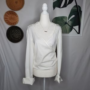 Lafayette 148 White Wrap Blouse Tie Back Career